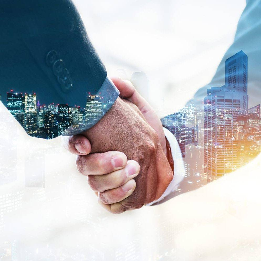 Welcome. double exposure of business man partner handshake with during sunrise and cityscape background, digital communication technology, investment, negotiation, partnership and teamwork concept