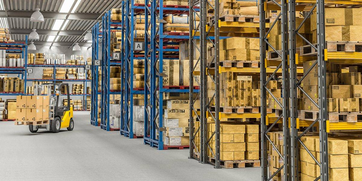 3d rendered image of a forklift at work in a large warehouse full of boxes and goods. Industry and logistics concept