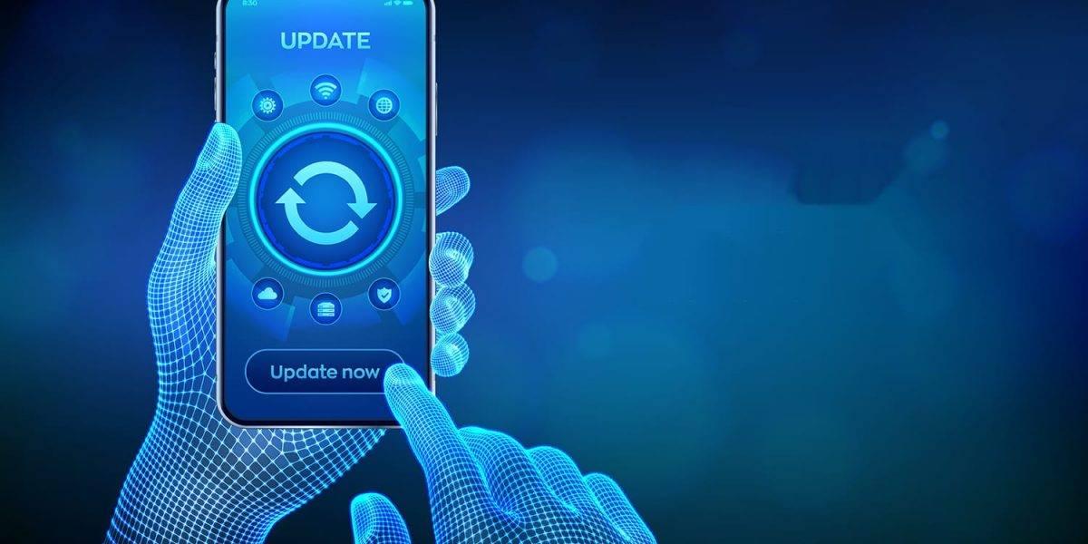 Update Software. Upgrade Software version concept on smartphone screen. Computer program upgrade business technology internet concept. Closeup smartphone in wireframe hands. Vector illustration