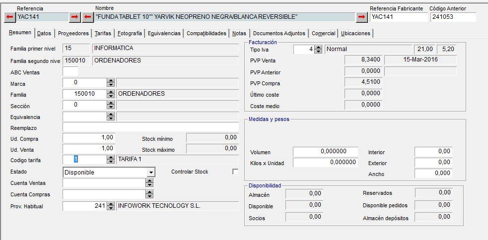 Ficha Resumen del Articulo en el Software de Gestión de Axos Visual (M.Gestión)
