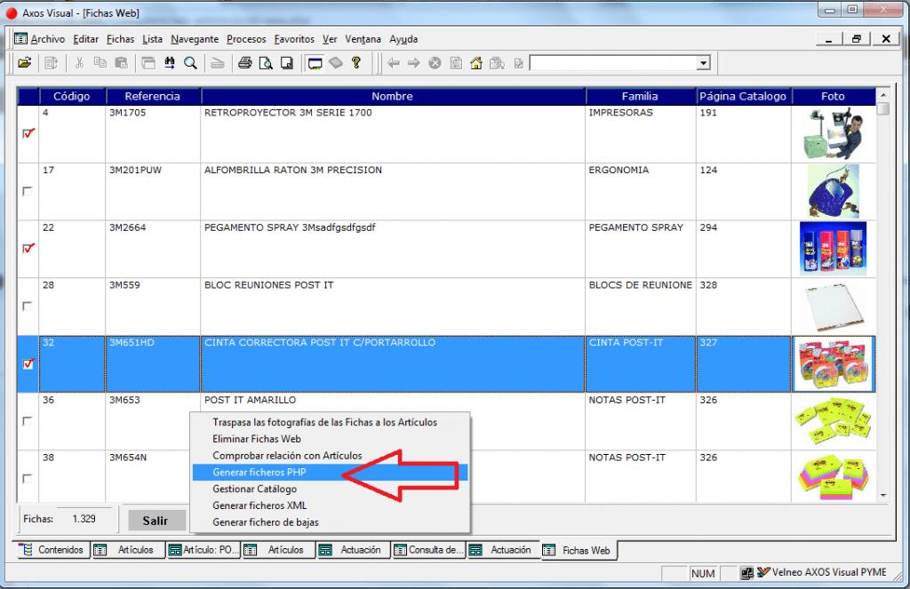 Exportación manual de fichas web en M. E-Com