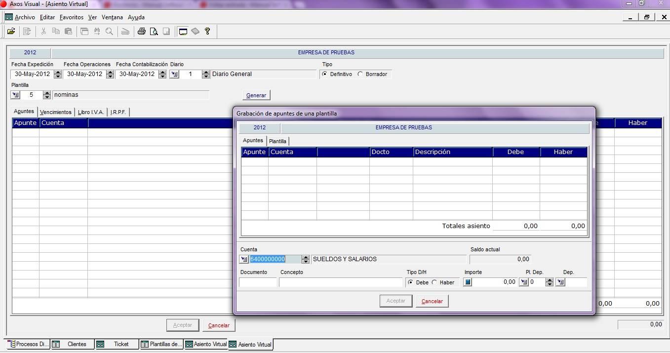 Asientos predefinidos en el software de gestión (M.Contabilidad) - Axos
