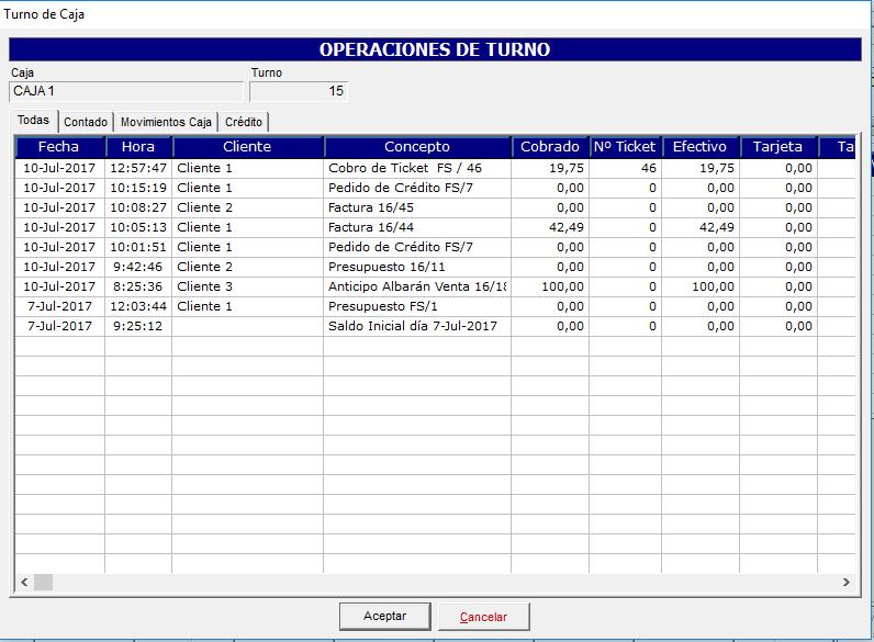 Consulta de operaciones de turno en el software de gestión
