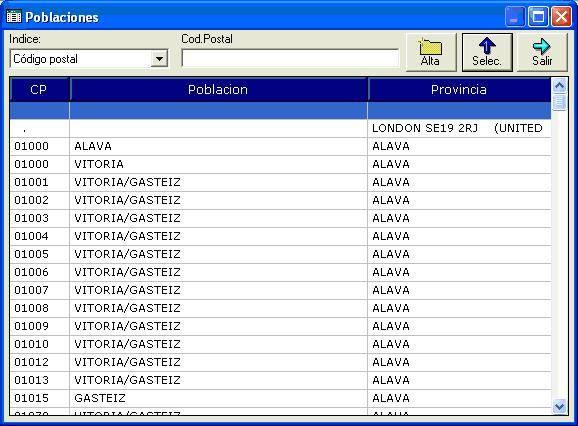 Configuraci n de poblaciones en el software de gesti n m for Localizador codigos postales