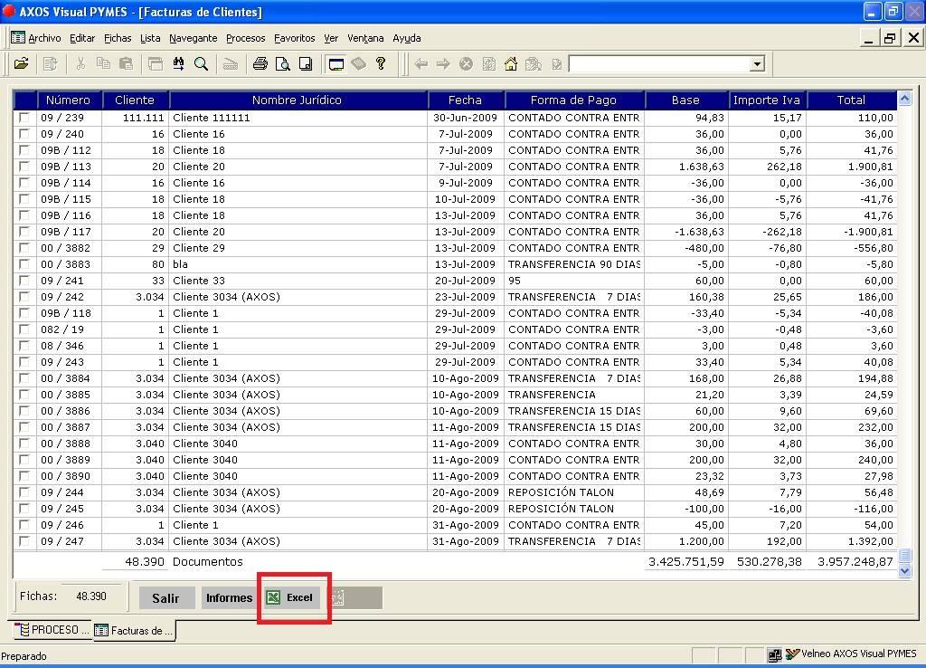 manual de configuración de exportación a excel en el software de
