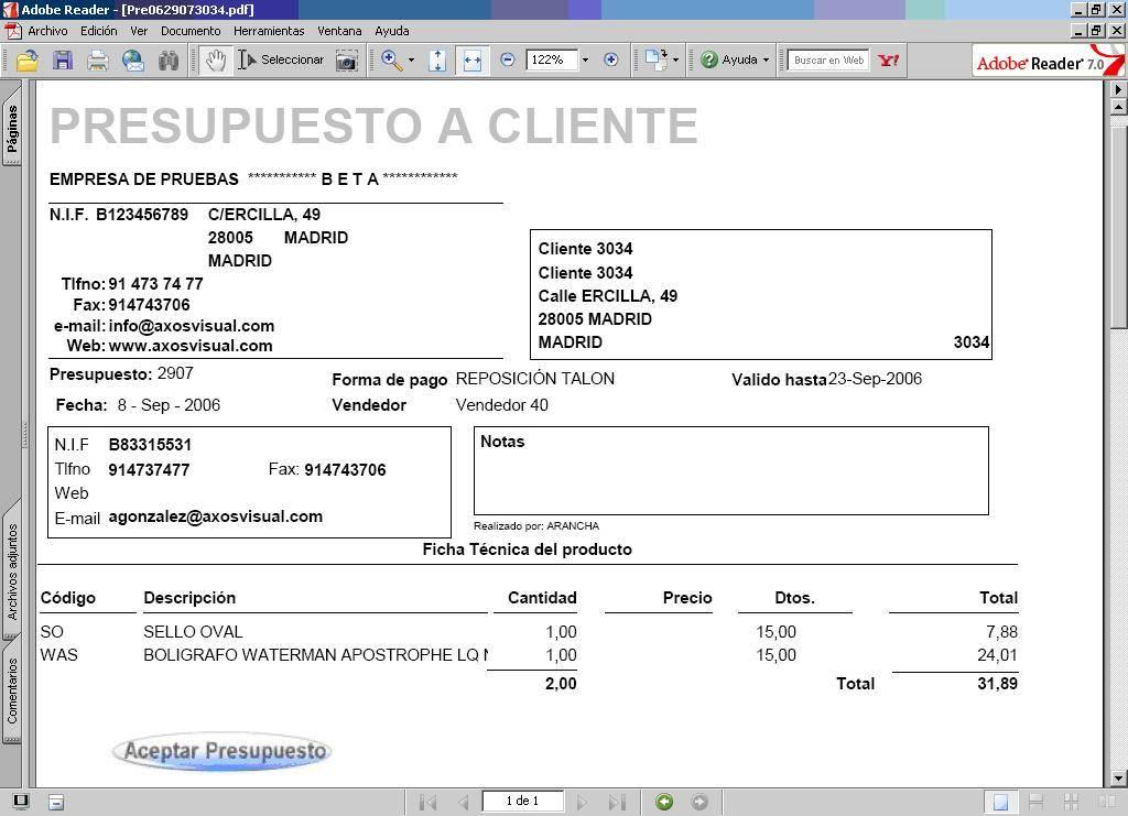 Presupuestos de clientes en el software de gesti n m for Presupuesto para hacer una pileta