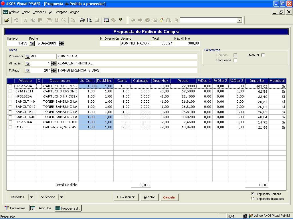 Propuesta automática de compra en el software de gestión (M ...