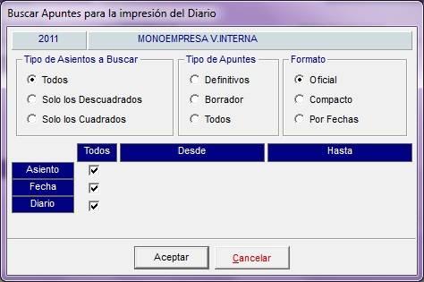Imprimir el diario general en el software de gestión