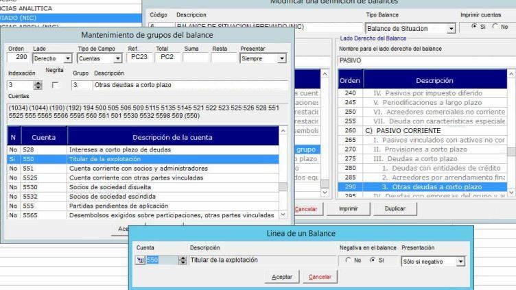 configuración cuenta contable 550
